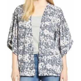 Bobeau ボビュ ファッション 衣類 Bobeau NEW Blue Kimono Sleeve Women Small S Printed Open Front Jacket