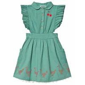 Bobo Choses キッズドレス Bobo Choses Frosty Green Ruffle Dress