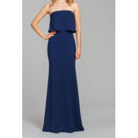 Hayley Paige ヘイリーペイジ ファッション ドレス Hayley Paige NEW Blue Womens Size 10 Popover Strapless Sheath Dress