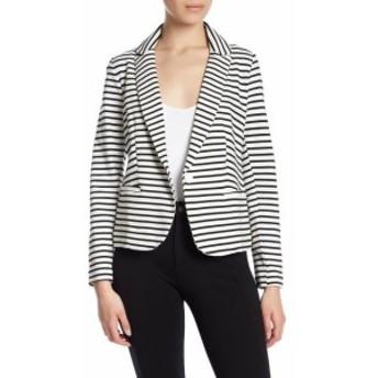 Blazer ブレザー ファッション フォーマル Olivia Moon Womens Black Size XS Stripe Printed Single Button Blazer