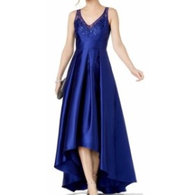 Adrianna Papell アドリアーナ パペル ファッション ドレス Adrianna Papell Womens Blue Size 4 Sequined High Low Gown Dress