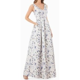 JS Collections JS コレクションズ ファッション ドレス JS Collections NEW Blue Womens Size 6 Floral-Print Metallic Gown