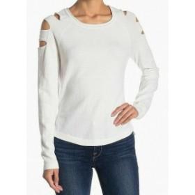 ファッション トップス RDI NEW White Womens Size Small S Cut Out Pullover Crewneck Sweater