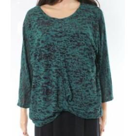 Minne  ファッション トップス MINNE NEW Green Leopard Sheer Print Womens Large L Scoop Neck Sweater