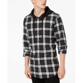 American  ファッション トップス American Rag Mens Hoodie Black Size 2XL Plaid Drawstring Button Up