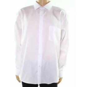 Alfani  ファッション ドレス Alfani NEW White Mens Size 15 1/2 Striped Regular Fit Dress Shirt