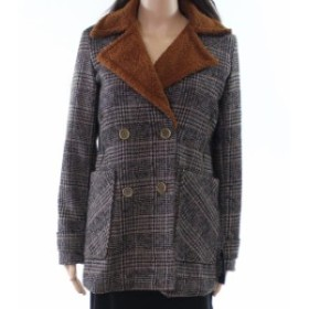 Shop  ファッション 衣類 Coffee Shop Womens Brown Size XL Houndstooth Faux Fur Trim Jacket