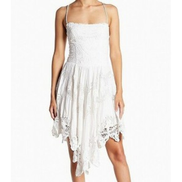 Free People フリーピープル ファッション ドレス Free People NEW White Lace-Up Lace Womens Size 6 A-Line Dress