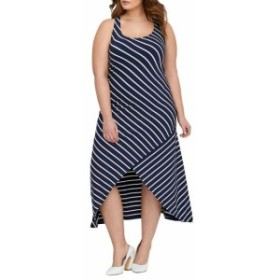 Michel  ファッション ドレス Michel Studio Womens Blue Size 1X Plus Striped High Low Sheath Dress