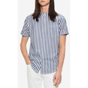 Calvin Klein カルバンクライン ファッション アウター Calvin Klein Blue Mens Size Medium M Striped Banded Collar Shirt