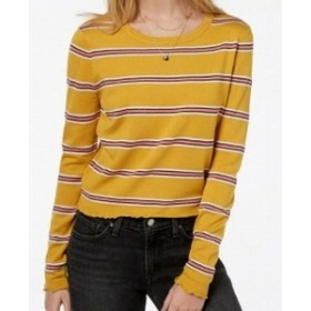 ファッション トップス Ultra Flirt Sweater Pink Yellow Size Medium M Junior Striped Crewneck