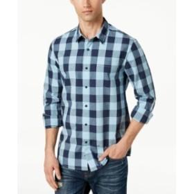 American  ファッション アウター American Rag NEW Blue Mens Size Large L Plaid Print Button Up Shirt