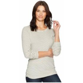 Mod-o-doc モドオードック 服 一般 Heathered Jersey Stripe Twisted Collar Side Shirred Long Sleeve Tee