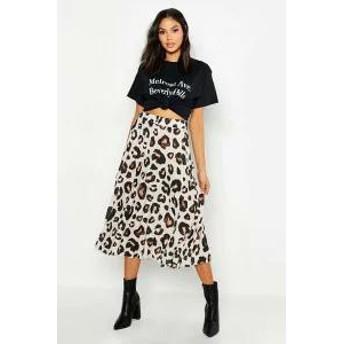 Boohoo レディーススカート Boohoo Tall Leopard Print Pleated Midi Skirt tan
