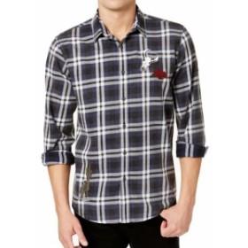 American  ファッション アウター American Rag NEW Blue Mens Medium M Plaid Patched Button Down Shirt