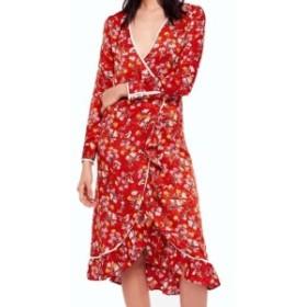 Free People フリーピープル ファッション ドレス Free People NEW Red Womens Size 2 Covent Garden Midi Wrap Dress