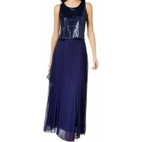 Midnight  ファッション ドレス MSK NEW Midnight Blue Womens Size 8 Sequined Popover Gown Dress