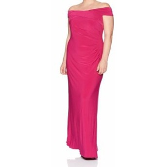 Adrianna Papell アドリアーナ パペル ファッション ドレス Adrianna Papell NEW Pink Womens Size 6 Ruched Off Shoulder Gown Dress