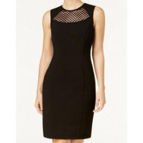 Calvin Klein カルバンクライン ファッション ドレス Calvin Klein NEW Black Womens Size 10 Mesh Inset Sheath Dress