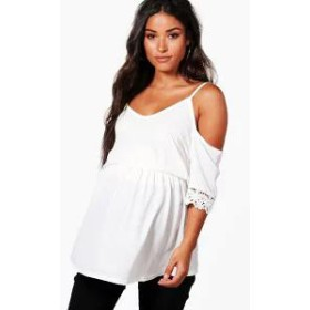 Boohoo レディースその他 Boohoo Maternity Open Shoulder Crochet Lace Top ivory