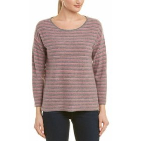 IN Cashmere インカシミア ファッション トップス In Cashmere Womens Incashmere Striped Cashmere Sweater M Grey