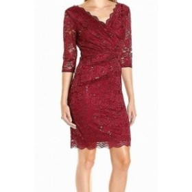 Sangria サングリア ファッション ドレス Sangria Womens Dress Red Size 6 Sheath Floral Lace Sequin Surplice
