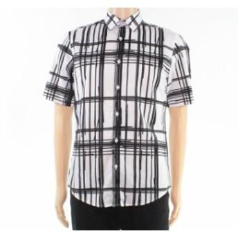 Alfani  ファッション アウター ALFANI White Black Mens Size Large L Broken Plaid Print Button Up Shirt