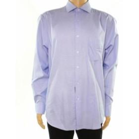 Alfani  ファッション ドレス Alfani NEW Blue Mens Size 17 1/2 Regular Fit Performance Dress Shirt