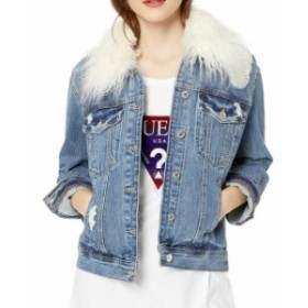 GUESS ゲス ファッション 衣類 Guess NEW Blue Faux-Fur Womens Size Small S Denim Jean Jacket
