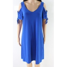 American  ファッション ドレス American Rose NEW Blue Womens Size Large L Cold Shoulder Shift Dress