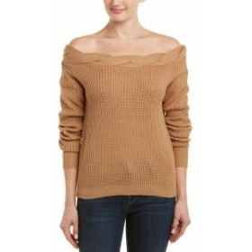 ファッション トップス J.O.A . Off-The-Shoulder Sweater M Brown