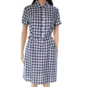 max マックス ファッション ドレス Max Studio NEW Blue Checkered Women Small S A-Line Shirt Dress Cotton