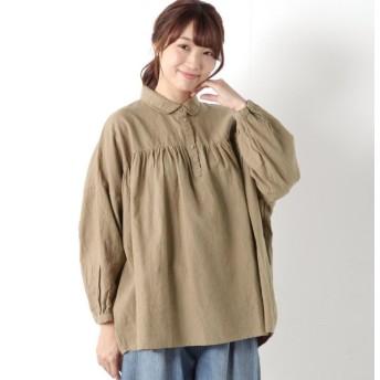 シャツ ブラウス レディース 綿麻胸ギャザー丸襟シャツ 「ベージュ」