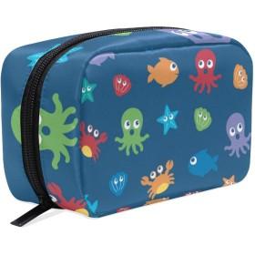 (VAWA) 化粧ポーチ 大容量 可愛い 海洋生物 タコ 魚 メイクポーチ コンパクト 機能的 おしゃれ 持ち運び コスメ収納 仕切り ミニポーチ バニティーケース 洗面道具 携帯用