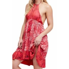 Free People フリーピープル ファッション ドレス Free People NEW Red Womens Size Small S Abstract Printed Shift Dress