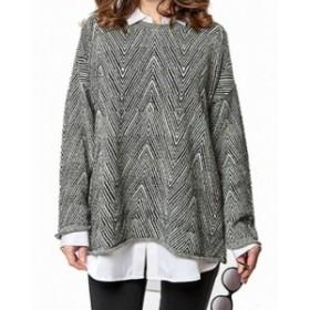 ファッション トップス G9C NEW Black Womens Size Medium M Pullover Zig Zag Knit Sweater