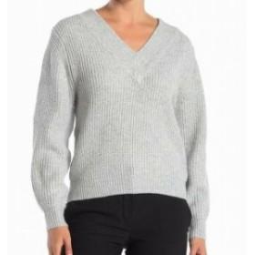 ファッション トップス Catherine Malandrino Womens Ribbed Knit Gray Medium M V-Neck Sweater