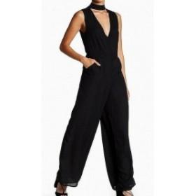 ファッション ジャンプスーツ LUCCA Womens Jumpsuit Black Size Small S Choker Chiffon V-Cutout