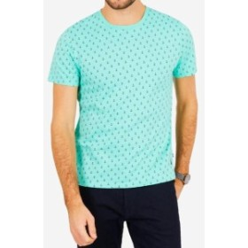 nautica ノーティカ ファッション トップス Nautica Mens Blue Size 2XL Allover Anchor Graphic Crewneck Tee T-Shirt #090