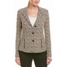 Blazer ブレザー ファッション 衣類 St. John Leather-Trim Wool-Blend Blazer
