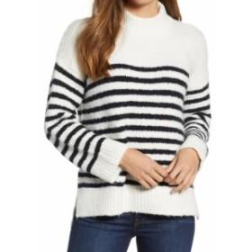 ファッション トップス LOU & GREY Womens White Size Large L Striped Ribbed Crewneck Sweater