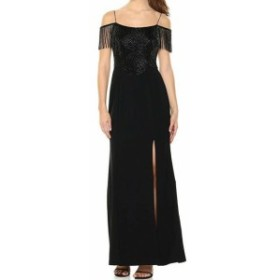 Adrianna Papell アドリアーナ パペル ファッション ドレス Adrianna Papell Womens Dress Black Size 10 Gown Beaded Fringe