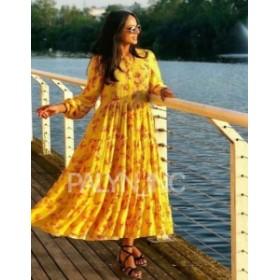 Maxi  ファッション ドレス NWT_ZARA SS19 YELLOW FLORAL PRINTED MIDI MAXI BOHEMIAN PEASANT DRESS_S M L
