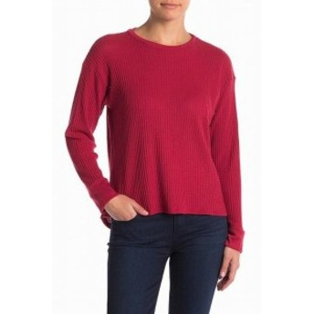 Project Social T プロジェクトソーシャルT ファッション トップス Project Social T Womens Red XS Thermal Waffle Knit Crewneck Sweat