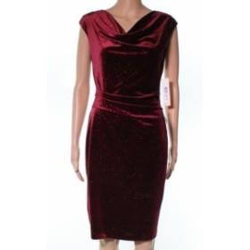 Eliza J エリザジェイ ファッション ドレス Eliza J NEW Red Draped Neck Shimmer Womens 6 Evening Sheath Dress