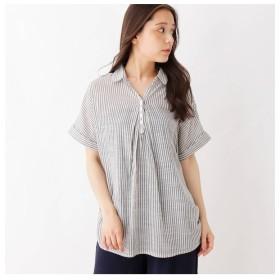 【シューラルー/SHOO・LA・RUE】 スキッパーフロントタックシャツ
