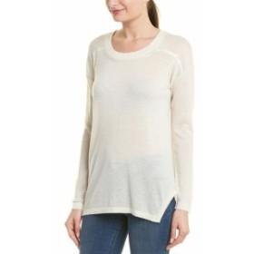Quinn  ファッション トップス Quinn Dropped-Shoulder Silk-Trim Cashmere Sweater S