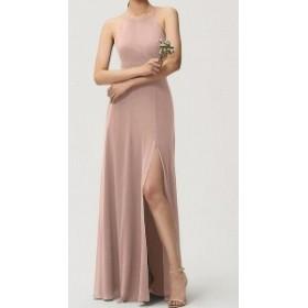 Jenny Yoo ジェニーヨー ファッション ドレス Jenny Yoo NEW Pink Womens Size 10 Slit Seamed Crepe Sheath Dress