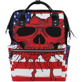おむつバッグアメリカ国旗スカルおむつ バッグ バックパック ママバッグ カジュアル 軽量 大容量 トラベル マミー用