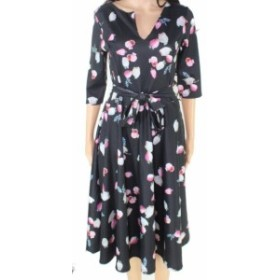 Aerin エアリン ファッション ドレス Aerin Womens Black Size Medium M Floral Belted V-Neck Sheath Dress
